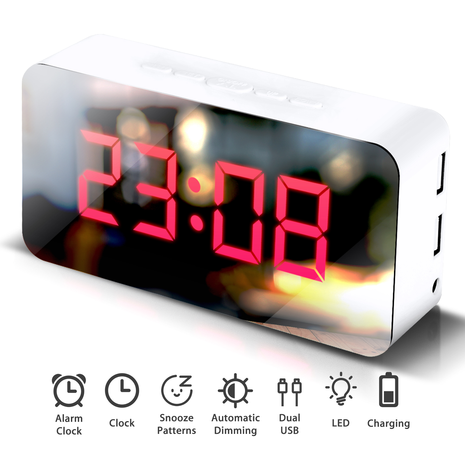 TSV Digital Alarm Clock, LED Display Clock Best Makeup Bedroom Mirror Travel Alarm Office Bedroom Clock, Alarm with Snooze, Auto Dimmer Battery Powered with Dual USB Port