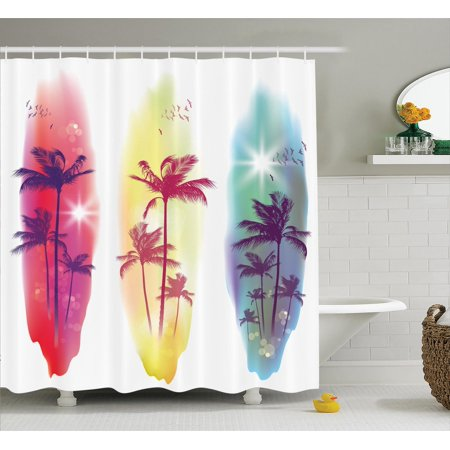 Tropical decor shower curtain set palm trees birds for Bird themed bathroom accessories