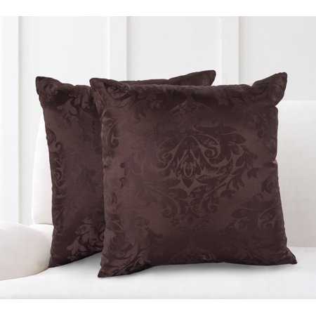 Wondrous Mainstays Damask Jacquard Decorative Throw Pillow Set 2Pk Brown Ocoug Best Dining Table And Chair Ideas Images Ocougorg