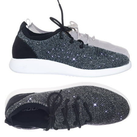 Pitch by Soda, Super Lightweight Lace Up Sneaker w Mesh Metallic Glitter