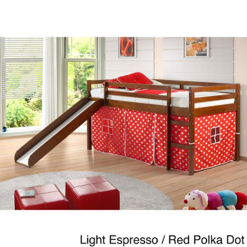 Donco Kids Twin Size Tent Loft Bed With Slide Walmart Com
