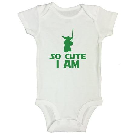 """43f68d3ae Funny Kids Onesie """"So Cute I Am"""" Starwars Yoda Onesie Funny Threadz Kids  0-3 Months, White - Walmart.com"""