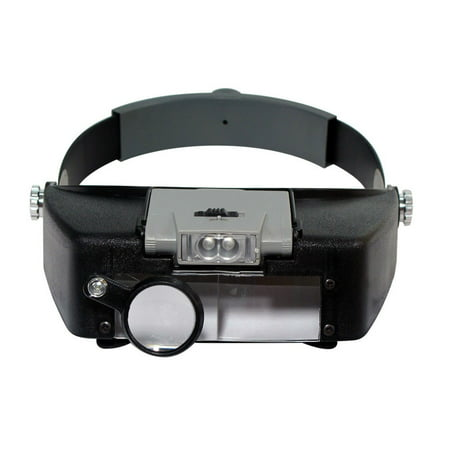 Jewelers Head Headband Magnifier LED Illuminated Visor Magnifying Glasses (Round Acrylic Illuminated Magnifier)