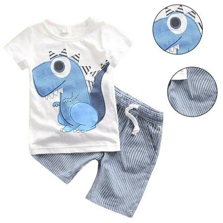Enjoyofmine Child Little Dinosaur Short-Sleeved T-shirt + Shorts Suit, Boys Girls Clothes Shorts Set