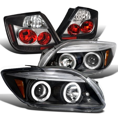 Spec-D Tuning Scion 2005-2010 Tc Jdm Euro Black Led Halo Projector Headlight + Clear Tail Lamp (Left + Right) 2005 2006 2007 2008 2009 (2006 Scion Xb Projector)