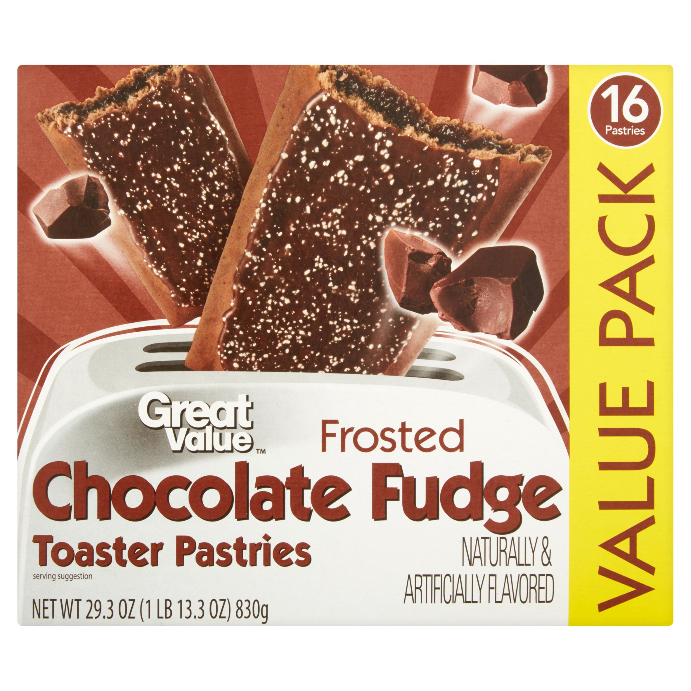 Great Value Frosted Chocolate Fudge Toaster Pastries, 16ct by Wal-Mart Stores, Inc.