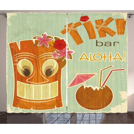 Tiki Bar Curtains 2 Panels Set, Invitation to Tiki Bar Old Fashion Display Coconut Drink Mask and Flowers Print, Window Drapes for Living Room Bedroom, 108W X 63L Inches, Multicolor, - Tiki Drinks