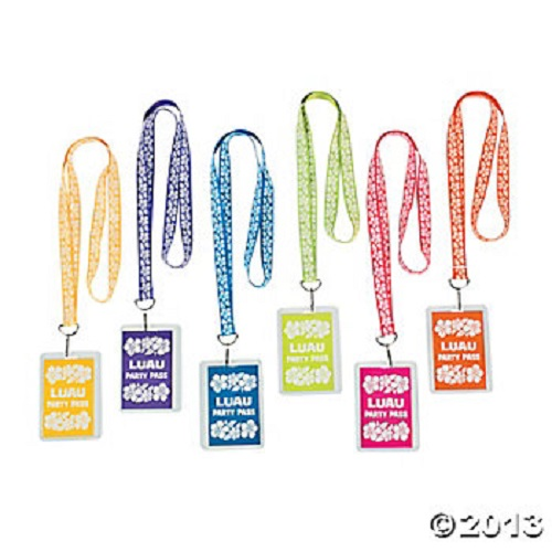 Lot of 12 Luau Party Pass Lanyards Name Tags Hawaiian Tropical Favors
