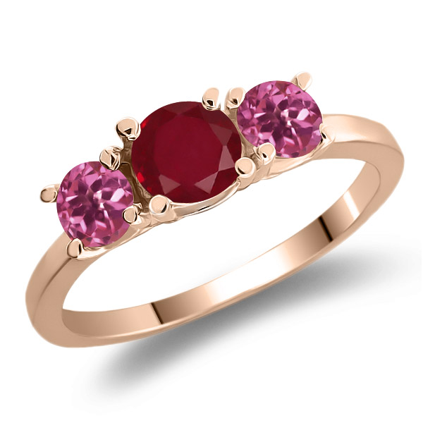 1.04 Ct Round Red Ruby Pink Tourmaline 925 Rose Gold Plated Silver 3-Stone Ring by