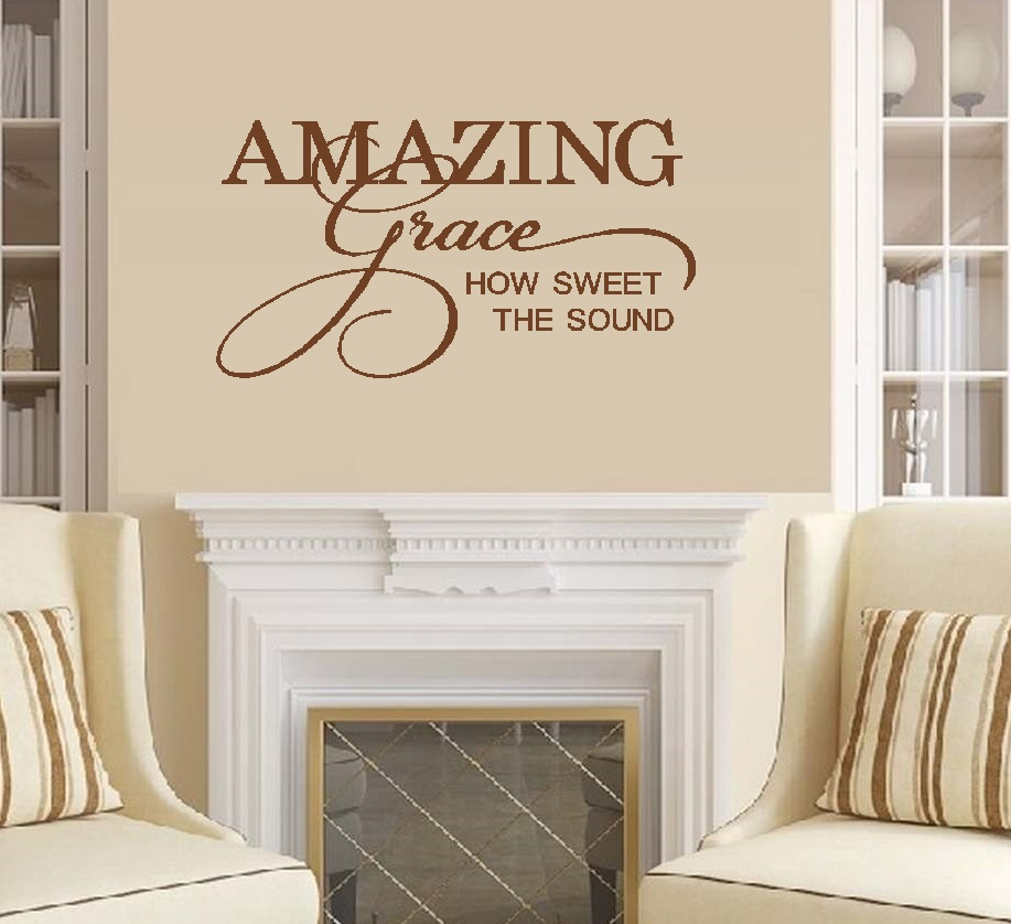 """Decal ~ AMAZING Grace, How Sweet the Sound : Wall Decal 21"""" x 37"""" Wht"""