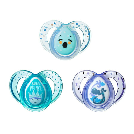 Tommee Tippee Day & Night Pacifier 6-18 Months, Pattern, Design and Colors May Vary - 3 Count