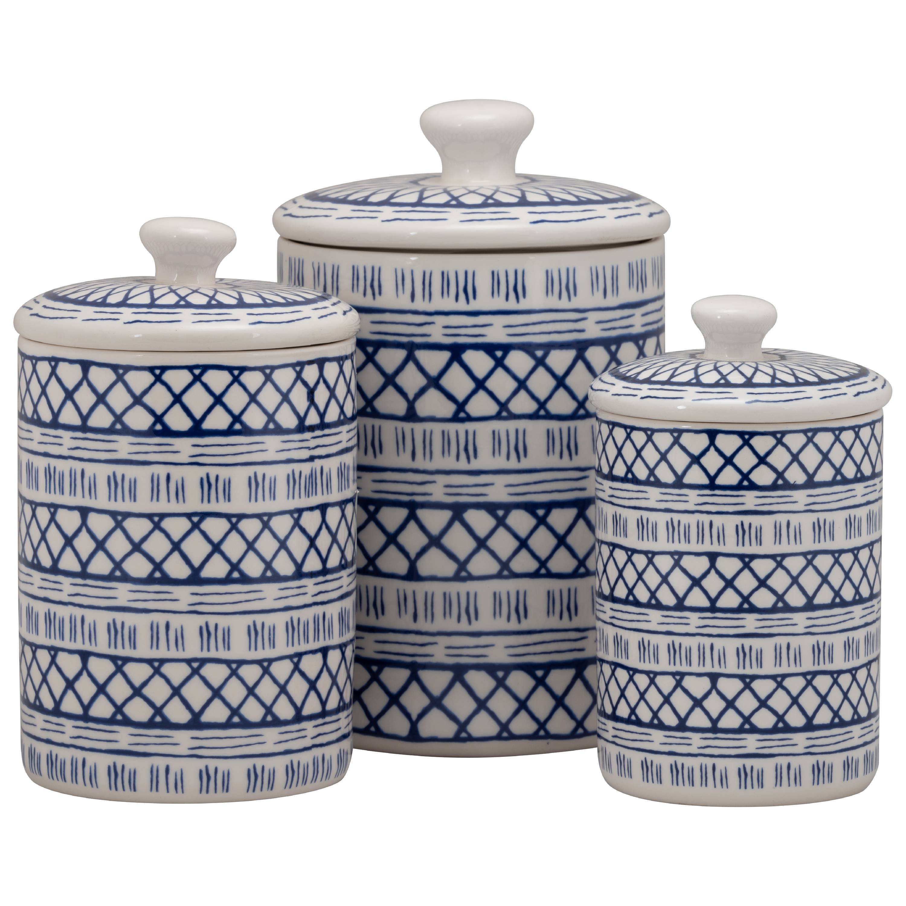 10 Strawberry Street Marina 3 Piece Porcelain Canister Set, White Blue by 10 Strawberry Street