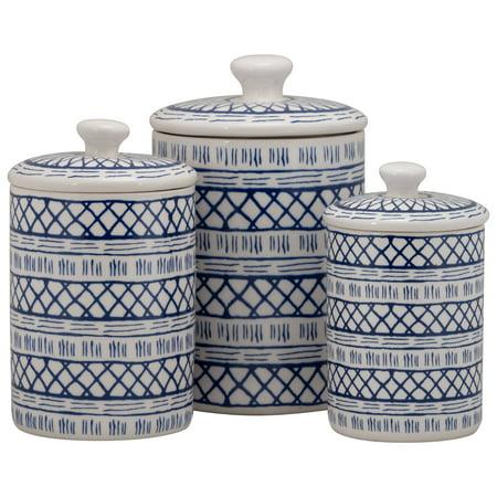 10 Strawberry Street Marina 3 Piece Porcelain Canister Set, White/Blue