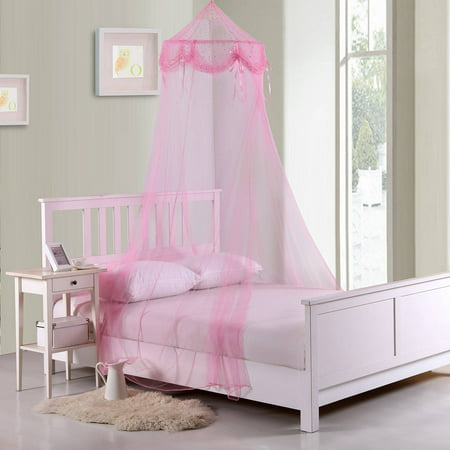 Kids Buttons and Bows Collapsible Hoop Sheer Mosquito Net Bed Canopy