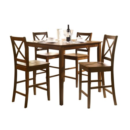 Acme Martha 5 Piece Pack Counter Height Set  Country Brown