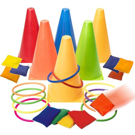 Prextex 3 In 1 Carnival Combo Set Cornhole Bean Bags Ring Toss Game and Plastic Cone Set 26 Piece set - Bean Bags Game