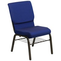 Flash Furniture HERCULES Series 18.5''W Church Chair in Navy Blue Patterned Fabric with Book Rack - Gold Vein Frame