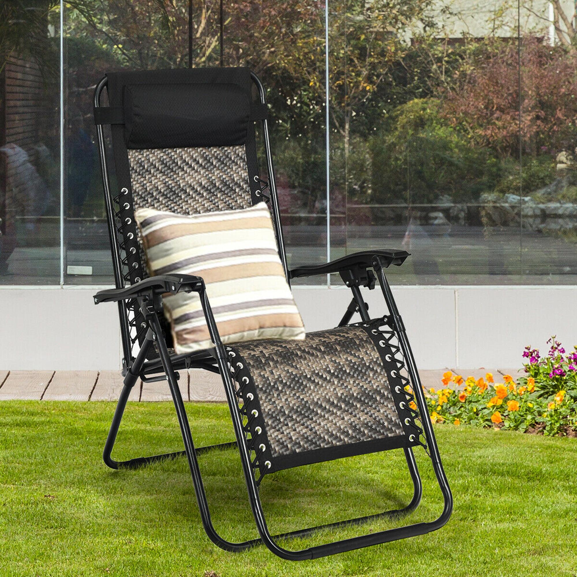 Gymax Folding Rattan Patio Zero Gravity Lounge Chair Recliner with Headrest    Walmart.com