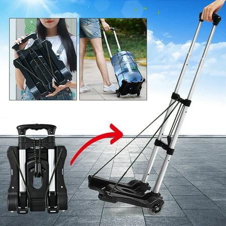 Lightweight Foldable Hand Cart Travel Luggage Shopping Cart Trolley Folding Portable Aluminium 40KG Black