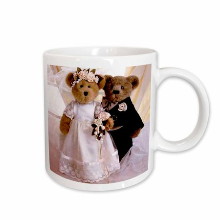 3dRose Bride and Groom Bears, Ceramic Mug, - Groom Glass Bears