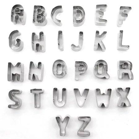 26pcs Stainless Steel Alphabet Letters Biscuit Cutters DIY 3D Cookies Molds Mini A-Z Shaped Mould Decorating Tool Bakware Kitchen Fondant Decoration Tools - image 4 de 7
