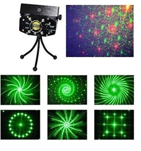 LED Projector Strobe flash Holographic Disco party Lighting Light Mini Portable Voice-activated Version with tripod 6 Patterns Remote controlled