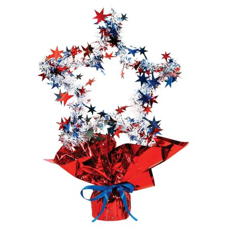 Club Pack of 12 Metallic Red, White and Blue Star Gleam 'N Shape 4th of July Centerpieces - 4th Of July Centerpieces
