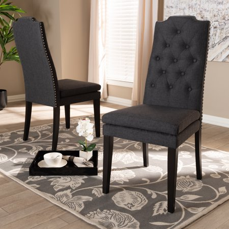 Baxton Studio Dylin Modern and Contemporary Charcoal Fabric Upholstered Button Tufted Wood Dining Chair Set ()