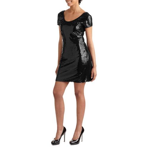 Juniors' Scoop Neck Cap Sleeve Sequins Knit Dress