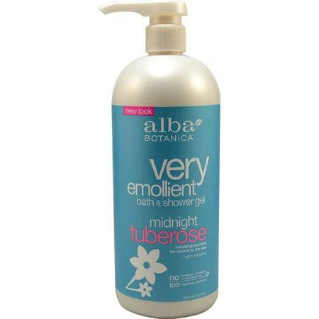 Emollient Shower - Alba Botanica Very Emollient Bath & Shower Gel, Midnight Tuberose, 32 Fl Oz