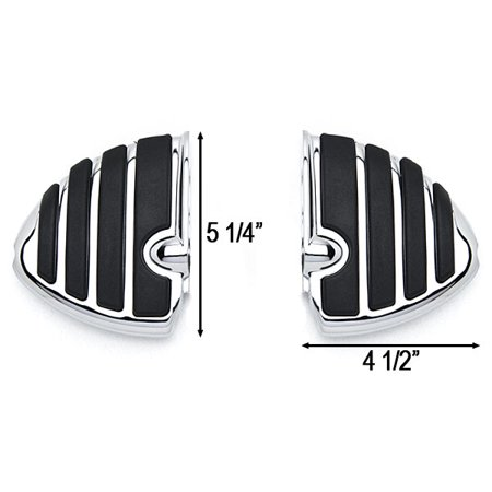 Chrome Motorcycle Wing Foot Pegs Footrests L+R For Kawasaki Vulcan 1700 Classic LT Vaquero 09-13 Rear - image 1 de 3