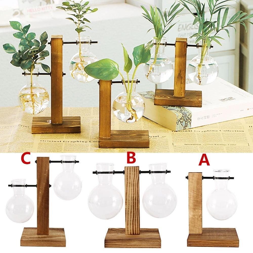 Tabletop Planter Flower Pot Wooden Frame Glass Vase Hydroponic Plant Vases