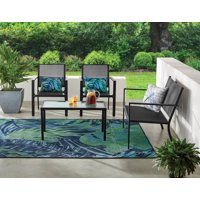 Mainstays Kingston Ridge 4-Piece Outdoor Patio Furniture with Grey Sling Conversation Set, Black Metal