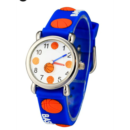( Basketball Pattern)  Girls Boy Kids Children's Waterproof 3D Cute Cartoon Digital Silicone Wristwatches Perfect Christmas birthday gift
