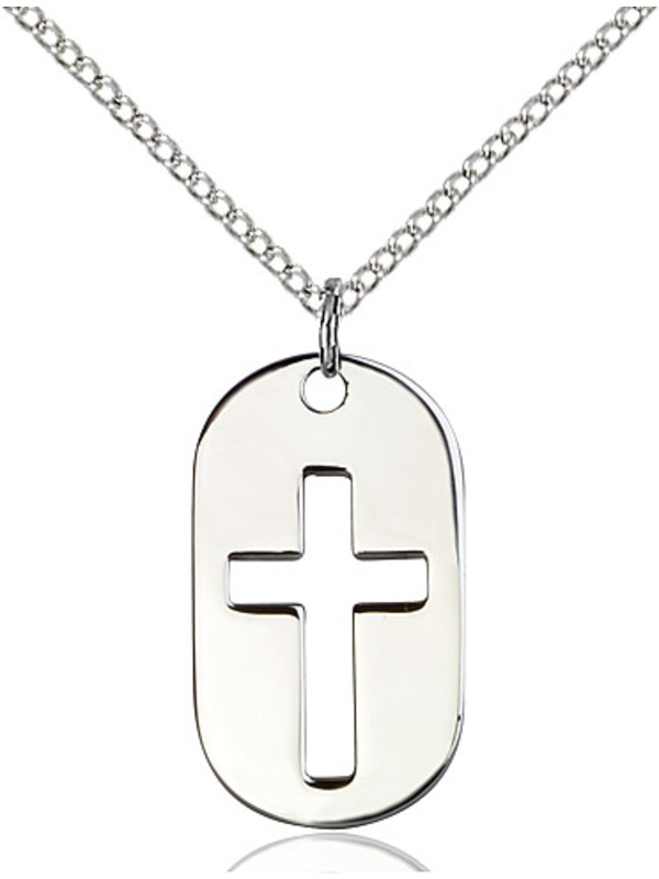 Sterling Silver Lite Curb Chain Patron Saint 7//8 x 1//2 Sterling Silver Cross Dog Tag Pendant
