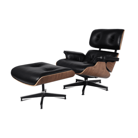 eMod - Mid Century Plywood Lounge Chair and Ottoman Leather Black Walnut