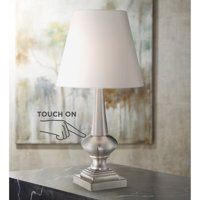 """360 Lighting Modern Desk Table Lamp 19"""" High Brushed Steel White Bell Shade Touch On Off for Bedroom Bedside Nightstand Office"""