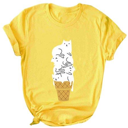 c267c70c Fancyleo - Fancyleo Ice-Cream Cat Short Sleeve Casual Tunic Printed Graphic  Cute Cotton Cartoon Funny Shirts For Women - Walmart.com
