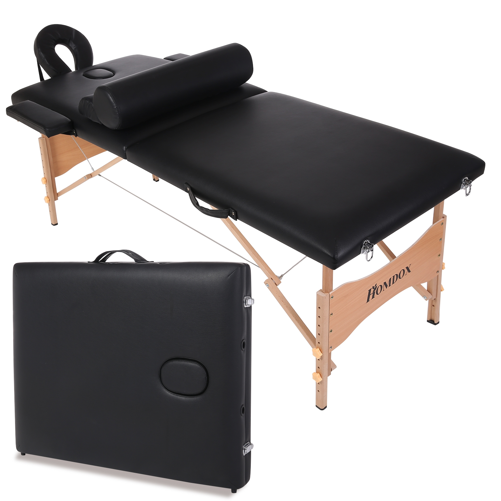 Leather Portable Spa Massage Table Two-Fold Pad Chair Bed...