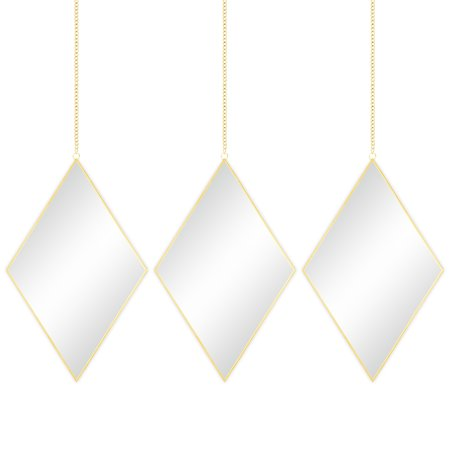 Best Choice Products Set of 3 Decorative Diamond DIY Hanging Wall Mirrors for Living Room, Bedroom w/ Chains - Copper ()