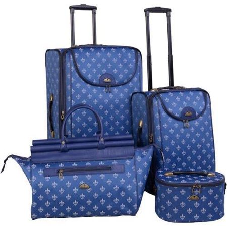 Fleur De Lis Luggage (Long Lat Inc. 54500-4 Blu American Flyer 4pc Fleur De Lis Luggage Set,)