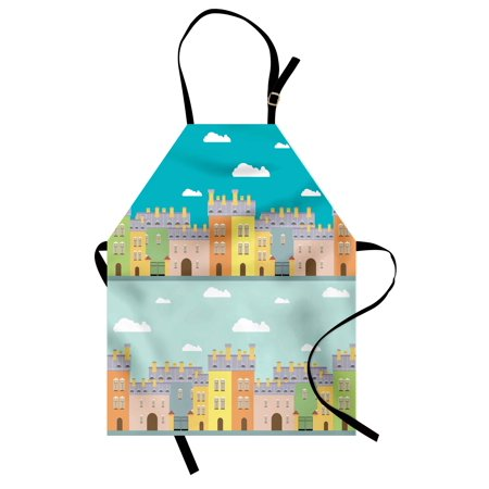 Dutch Apron Colorful Houses Traditional Architecture of Holland Cartoon Old Town Illustration, Unisex Kitchen Bib Apron with Adjustable Neck for Cooking Baking Gardening, Multicolor, by Ambesonne
