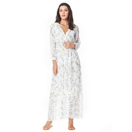 Womens Bohemian Chiffon Floral Print Wrap V Neck Flowy Pleated Long Plus Dress](Casual Flowy Dresses)