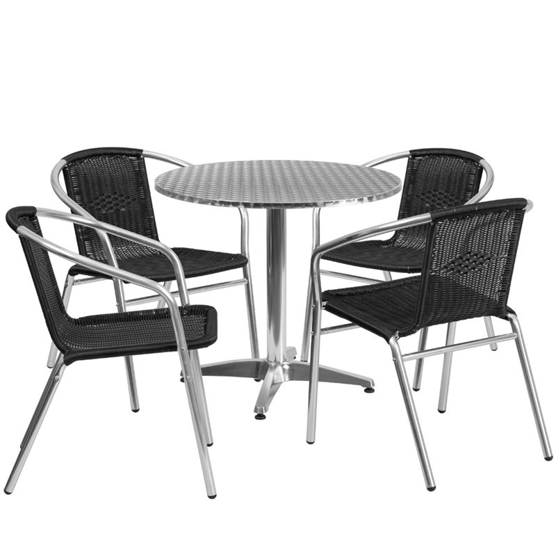 Bowery Hill 5 Piece Round Patio Dining Set in Aluminum and Black