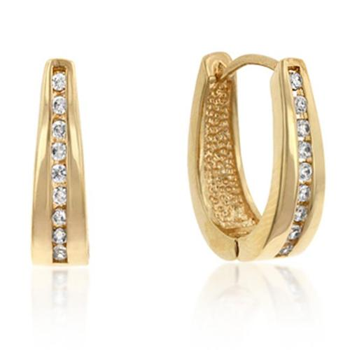 Kate Bissett E01207G-C01 18k Gold Plated Small Hoop Channel Set Round Cut Clear CZ Earrings in Goldtone