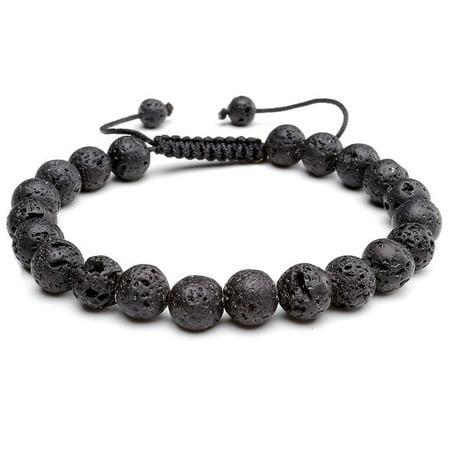 Black Lava Stone Adjustable Bracelet Wrist Mala Men Women Fashion Chakra Healing Beaded (Wrist Mala Bracelet)