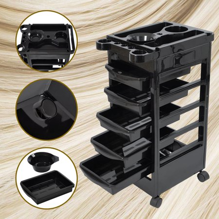 File Trolley (5 Layers Rolling Salon SPA Trolley Storage Cart Coloring Beauty Salon Hair Dryer Holder)