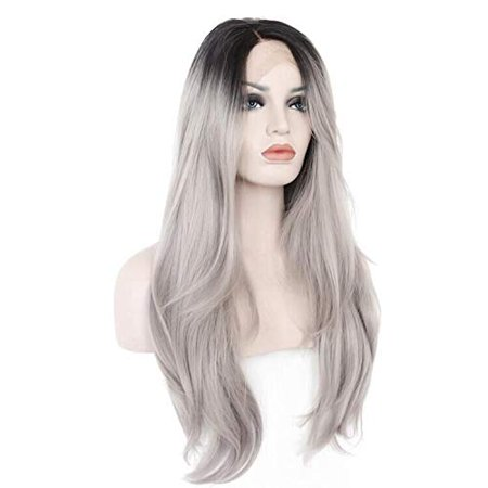 Ebingoo Grey Ombre Dark Roots Long Natural Wave Synthetic Lace Front Wig 26 inch - image 1 of 5