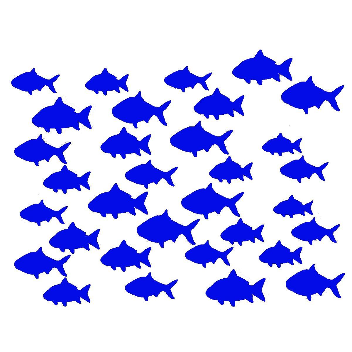 VWAQ Aquatic Animal Stickers, School Of Fish Wall Decor - Peel and Stick Decal, 32 Pack VWAQ (White)