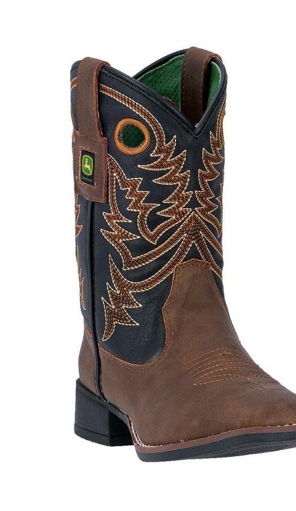 John Deere Western Boot Boys Kids Broad Toe Steel Shank Brown JD2025 by John Deere